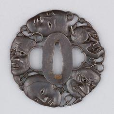 Tsuba with design of noh masks