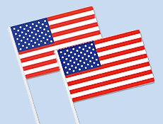 """12""""x18"""" American Flags - Plastic Flag - 12 per pack - $3.49 - Thought this might be good to pass out in mass quantity for redeployment ceremonies!"""