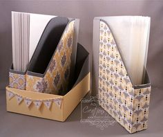 """Homemade Folder Organizer includes templates for three holders, and a base. Perfect for storing Embossing Folders and other items in the craft room. FINISHED SIZE Folder Box: 5-5/8"""" x 1"""" x 4-3/4"""" Base: 4-1/8"""" x 3-3/8"""" x 4-15/16"""""""