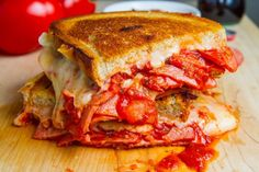 Pepperoni Pizza Grilled Cheese Recipe : A pepperoni pizza in grilled cheese form! Buttery and toasty golden brown bread stuffed full of ooey gooey melted mozzarella cheese, pepperoni and pizza sauce. Grilled Cheese Recipes, Sandwich Recipes, Dog Food Recipes, Cooking Recipes, Fall Recipes, Dinner Recipes, Pizza, Wrap Sandwiches, My Favorite Food