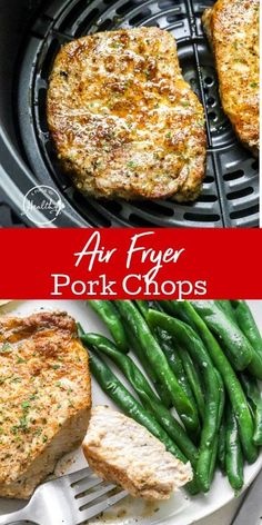 Air fryer pork chops are a quick, juicy and flavorful main dish that you can make in 20 minutes. They're perfect for weeknight dinners, with a couple of simple sides. Dinner Dishes, Pasta Dishes, Main Dishes, Mexican Food Recipes, Healthy Recipes, Air Fryer Pork Chops, Air Fryer Healthy, Quick Easy Dinner, Pork Chop Recipes