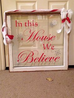 Love the Uppercase H and B on this sign. Use an old window for holiday decorations! ReHouse.com has hundreds of salvaged windows to choose from!
