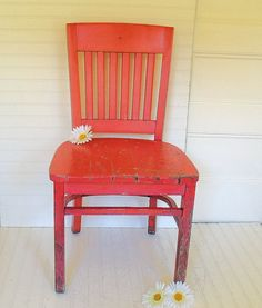 Rescued Rugged Raspberry Oak Wood Chair - Vintage Mid Century Library Seating - Super Shabby Ultra Chippy Red Paint