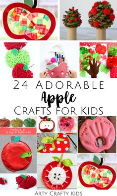 Looking for easy fall apple crafts for kids to make at home or in the classroom? Here is a list of 24 fun   easy apple crafts for kids to make, whether you're looking for crafts for children in preschool, kindergarten, or elementary school! Find these cute apple kids crafts   other easy autumn crafts for kids here! Easy Fall Crafts for Kids Autumn | Back to School Crafts for Kids | Food Crafts for Kids | Apple Crafts for Kids Art Projects #BackToSchool #AppleCrafts