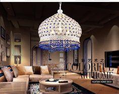 Bohemian Mediterranean Blue Crystal Ceiling Drop Light Pendant Lamp Lampshade Lighting Fixture for Room Restaurant Cafe Decor (1)