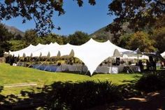 Available to rent in the U.S. for the first time, Denver-based EPS-Doublet's (800.227.0337, epsdoublet.com) Stretch Tent line, manufactured by RHI Tents in South Africa, is made with waterproof stretch fabric. Larger tents can have sides up or down, while poles can be repositioned to accommodate more guests; units can also be wrapped around trees, rocks, and walls. The tents can be custom-colored and printed.