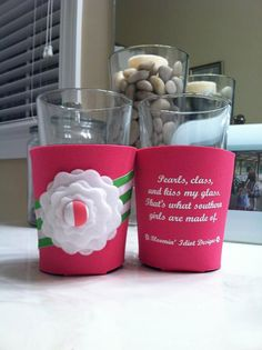 Perfect for a spring event.  Keep your solo cup cold and looking pretty too.  Available on my etsy site.