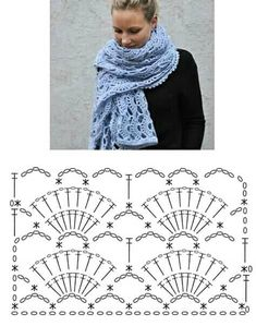 Háčkovaná šála - Tricot Always aspired to learn to knit, although unsure the place to begin? This particular Total Beginner Knitting Sequence is. Crochet Scarf Diagram, Crochet Stitches Patterns, Crochet Chart, Love Crochet, Crochet Motif, Crochet Lace, Knitting Patterns, Crochet Shawls And Wraps, Crochet Scarves