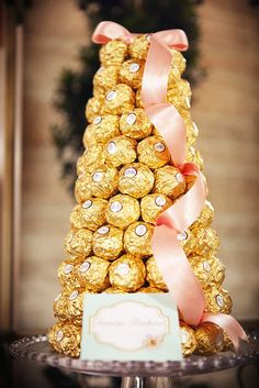 Gold wrapped chocolate tower