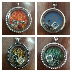 Harry Potter Hogwarts Houses Themed Floating Charm Locket