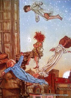 PETER PAN and WENDY Fly Away print ready by sandshoevintageprint, $5.00