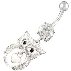 "cute belly button rings sexy dangle dangling Owl exotic crystal bars navel 14Gauge (1.6mm), 3/8"" Inch (10mm) Clear Swarovski Ferido dangly AFER - Pierced Body Piercing Jewelry"