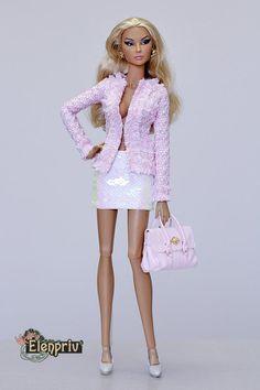 Barbie Dark Pink and White Flared Skirt Fashionistas REGULAR Model Muse