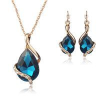 Gold Water Drop Gemstone Jewelry Set