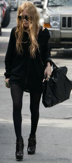 149ca5546cc3 Mary Kate Olsen outfit - MKO street style look - Balenciaga bag