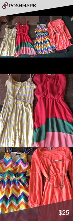 Cute summer dresses Four cute dresses perfect for summer! All size small except the yellow on the far left which is a medium but it fits more like a small. Dresses Mini