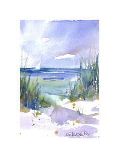 Watercolor Beach Painting Small Seascape Giclee Sand Dune | Etsy Watercolor Beginner, Watercolor Landscape Tutorial, Small Paintings, Beach Paintings, Watercolor Paintings, Beach Watercolor, Caribbean Art, Nautical Art, Pottery Painting