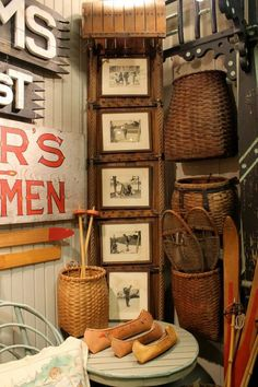 display photos - great use for the old toboggan. Genessee River Trading Co Sled Decor, Rustic Baskets, Woven Baskets, Lodge Look, Vintage Cabin, Photo Displays, Display Photos, Little Cabin, My New Room