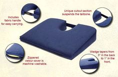 The Tush-Cush orthopedic seat cushion is scientifically designed to relieve and prevent back pain, numb buttocks and other discomforts associated with sitting. The unique cutout section of the cushion suspends the tailbone providing comfort and relief to areas sensitive to sitting. Wedge shape tilts your pelvis forward to restore your spines natural lumbar curve.