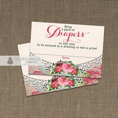 Diaper Raffle Ticket INSTANT DOWNLOAD English rose shabby chic doily lace by digibuddhaPaperie, $6.00
