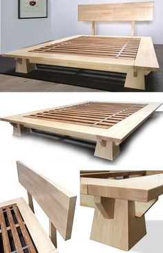 Wakayama Platform Bed - Natural Finish wood workings wood workings for beginners w Woodworking Furniture, Pallet Furniture, Furniture Projects, Furniture Plans, Bedroom Furniture, Furniture Design, Wood Projects, Woodworking Projects, Woodworking Classes