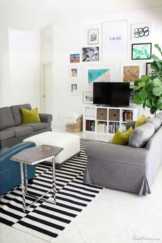 Ikea living room with gallery wall behind tv