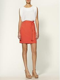 more dress/sewing/pattern inspiration {love the flowy, wide top and a-line, tie skirt}