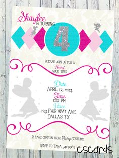 Fairy Girly Birthday Party Digital Copy Only 1200