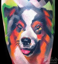 Adorable dog tattoo by Ivana Belakova. I LOVE THIS!