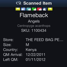 This the Quality Marine QR code from the Flameback Angel I bought. Apparently they bought him right before Christmas in Kenya. The fact that he was captured in Africa and brought here against his will is not lost on me. But, it's just a fish. Nano Reef Tank, Feed Bags, Kenya, Africa, Lost, Facts, Angel, Christmas, Xmas