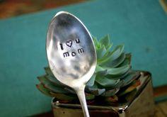 I (heart symbol) u mom Vintage Silverware Marker
