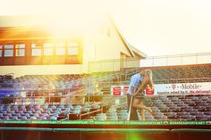 Baseball-themed engagement session at Roger Dean Stadium by Stay Forever Photography