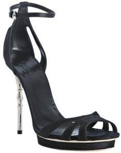 Gucci black satin 'Debra' platform sandals