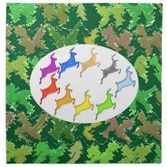 Green Wild Jungle n Deer Roaming Cloth Napkins