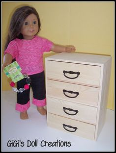 American Girl Dolls : GiGi's Doll Creations: Chest of Drawers from Hobby Lobby (drawers slide in a