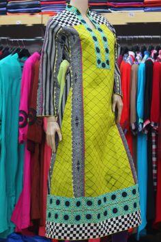 Pakistan Clothing 3 Three Piece Suit Pakistani Designer Pink Kurti Kurties Kurta Kurtas Kameez Qameez long Tunic Shirt in cotton Patch Work summer 2013 collection in UK  25 pounds