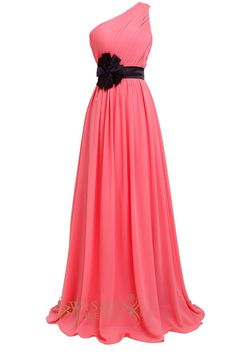 Chiffon one shoulder gown with asymmetrical ruched bodice. Attached ribbon accents the waist with big flower. Soft gathers surround the skirt. Ribbon available in select colors. Neckline:One-shoulder
