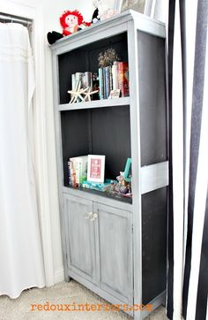 Dumpster Bookshelf makeover.  Repurposed with leftover Furniture parts.  Painted with CeCe Caldwell's Vermont Slate and Silverhill Fog.  REDOUXINTERIORS.COM FACEBOOK: REDOUX #redouxinteriors #cececaldwellspaints #cececaldwelsvermontslate #dumpsterdiving #trashtotreasure