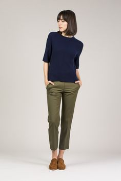 Ribbed Mock Neck Top, Navy by M. Martin #kickpleat