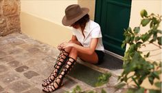 Felt hat, button up, shorts, gladiator sandals