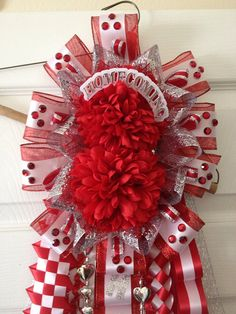 Double Homecoming Mum Red and Silver Ready To Ship by Texas Homecoming Mums, Football Homecoming, Homecoming 2014, Football Mums, Floral Design Classes, Mums The Word, Smells Like Teen Spirit, Printed Ribbon, Cheer Bows