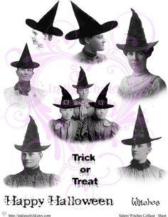 Salem Witches Digital Collage Sheet JPG by indigochyld on Etsy, $2.00