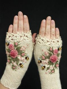 Knitted Fingerless Gloves Ivory Roses Rose Pastel Pink Bees Clothing And A Knitted Fingerless Gloves Ivory Roses Rose Pastel Pink Bees Clothing And Accessories Gloves Fingerless Gloves Knitted, Crochet Gloves, Knit Crochet, Crochet Granny, Hand Knitting, Knitting Patterns, Crochet Patterns, Crochet Ideas, Knitting Tutorials