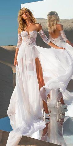 36 Totally Unique Fashion Forward Wedding Dresses ❤ fashion forward wedding dresses sweetheart neck flowy high slit with detached sleeves pnina tornai ❤ See more: http://www.weddingforward.com/fashion-forward-wedding-dresses/ #weddingforward #wedding #bride