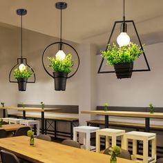 Vintage Industrial Retro Iron Green Plant Pendant Light for Kitchen Restaurants Bar Decorative Home LED Lighting Fixture Creativ