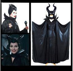 3 Pcs  Maleficent Cosplay Balck Dress Hallowmas Women Costume Hat+Cape+Dress #Unbranded #Dress
