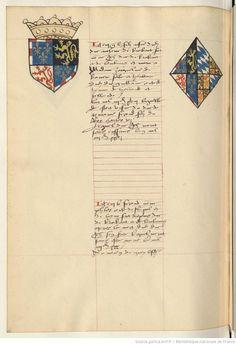 Coat of arms of John IV, Duke of Brabant, Lothier and Limburg and of Jacqueline, Countess of Hainaut, Holland and Zeeland. Receuil de la généalogie de la noble maison de Luxembourg.