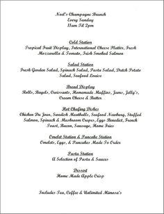 wedding brunch menu option