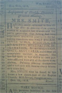 Pok. Jl., Faith Healer Mrs. Smith.  I refer to Mrs. Smith as a religious healer, a healer by prayer and laying on of hands perhaps.   She may also be a female healer who treated what regular doctors couldn't--women taken ill for personal reasons.  See http://brianaltonenmph.files.wordpress.com/2011/05/mrssmithad_dec221813.jpg.