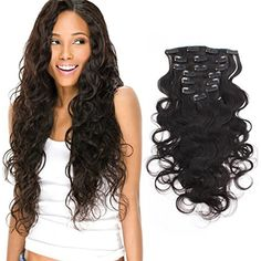 AmazingBeauty Clip In Extensions For Black Women 8A Grade Natural Color Thick 100% Virgin Hair 10-22inch 7 Pieces with 18 Clips 120g/4.2oz per Set For Full Head Body Wave 18 inch *** Find out more about the great product at the image link. (This is an affiliate link and I receive a commission for the sales) #HairCare